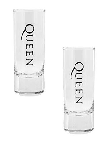 Queen Crest Unisex Schnapsglas-Set klar Glas Alkohol & Party, Band-Merch, Bands