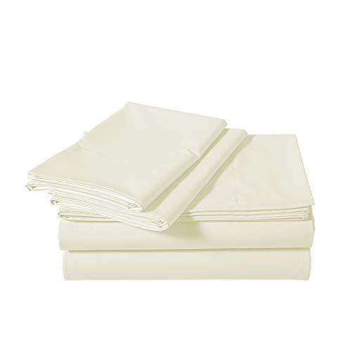 AmazonBasics Brushed Percale Cotton Bed Sheet Set, Queen, Cream Ivory