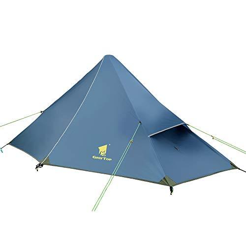 GEERTOP Kuppelzelt Rucksack Zelt Minipack 20D Ultralight - (1200g) -1 Personen 3 Saison für Camping Wandern Klettern (Zeltstangen Nicht enthalten) (Eisenblau, Außenzelt + Innenzelt)