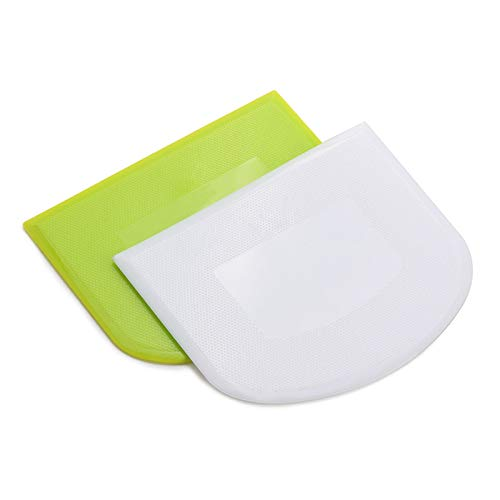 2 PCS Plastic Dough Scraper Bowl Scraper, Food-Grade Bench Scraper, Flexible Dough Cutter, Multipurpose Food Scrappers for Bread, Cake, Cream, Fondant(White+Green)
