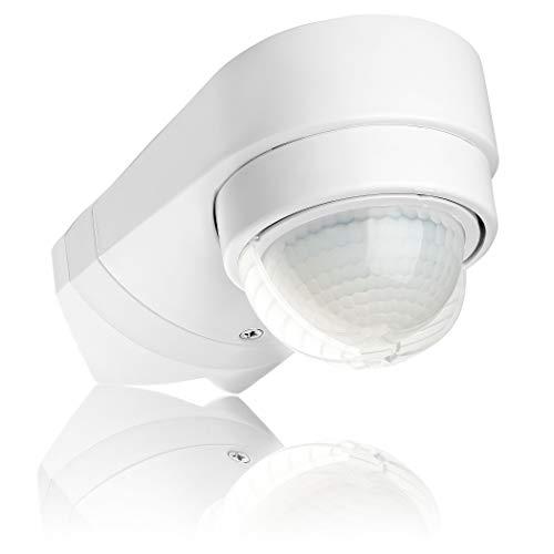 SEBSON® Bewegungsmelder Aussen IP54, Wand oder Eck Montage Aufputz, programmierbar, Infrarot Sensor, Reichweite 10m / 240°, LED geeignet, 3-Draht