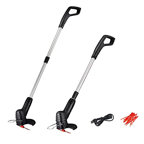 Portable Electric Lawn Mower Handheld Household Garden Grass Cutter Lightweight Mower Weed Eater Adjustable Mowing Machine Trimmer with USB Rechargeable Wireless Small Lawn Mower (2PCS)