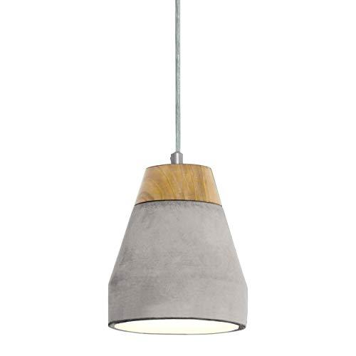 EGLO Tarega - Lámpara colgante, acero, madera, hormigón, 60 W, color marrón y gris