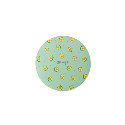 Mr. Wonderful Alfombrilla para Ratón Redonda con Diseño de Mini Aguacates sobre fondo Verde