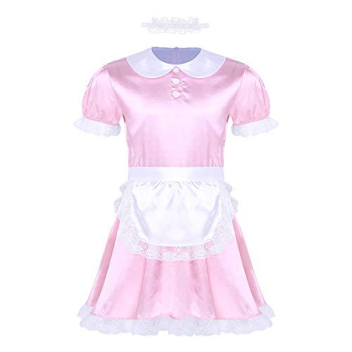 inhzoy Herren Sissy Kleider Dienstmädchen Kostüm Outfit Männer Dessous-Crossdresser Nachtkleid Maid Kostüm Cosplay Satin Reizwäsche Rosa_A X-Large