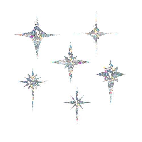 Cross Star Static Window Clings Anti Collision Window Decals for Bird Strikes, Glass Alert Bird Deterrent, Stop Birds Flying into Windows, Set of 18