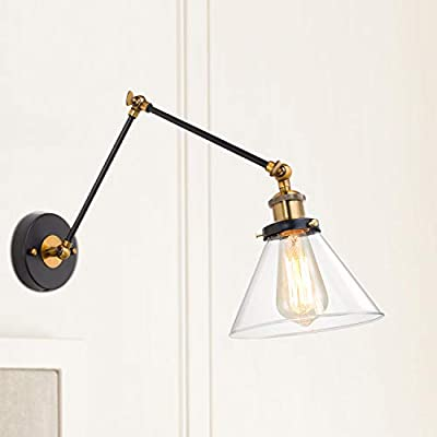 LNC Glass Adjustable Swing Arm Wall Sconce Shade 7-Inch(Bulbs not Included)