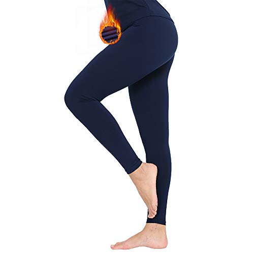 Subuteay Women's Thermal Bottoms Long Underwear Base Layer Fleece Lined Compression Pants Leggings Blue M