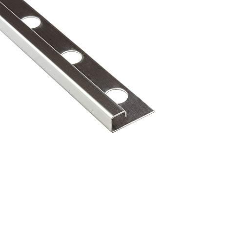 10x Quadrat-Profil Edelstahlschiene Fliesenprofil Fliesenschiene Edelstahl V2A L250cm 10mm glänzend