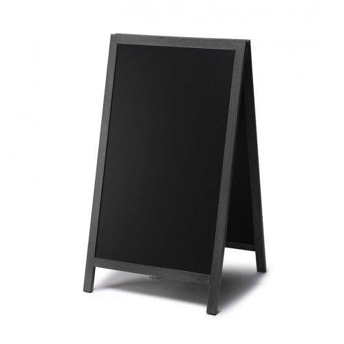net-xpress Kundenstopper Holz außen für Gastro, schwarz, 68x120, Kundenstopper Tafel Restaurant Bistro Cafe Gastronomie