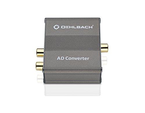 Oehlbach 6076 AD Converter - Analog/Digital Audiowandler - R/L In, Coaxial/Optical Toslink Out - Cirrus Logic Chip, Metallic Braun