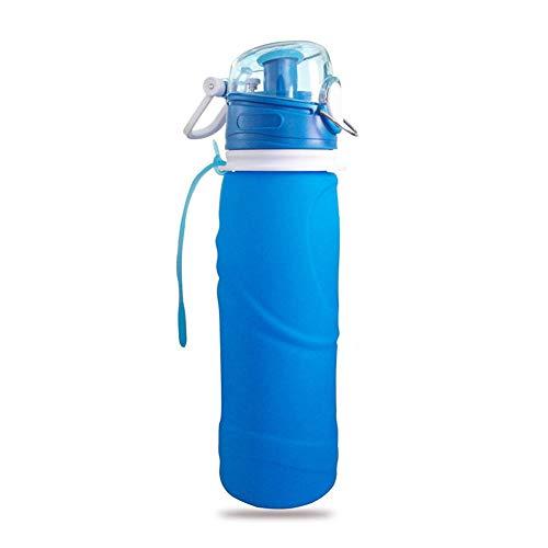 Bottiglia pieghevole riutilizzabile in silicone da 750 ml / 26 once bottiglia d'acqua portatile da viaggio portatile a tenuta stagna per bevande sportive,Arancia