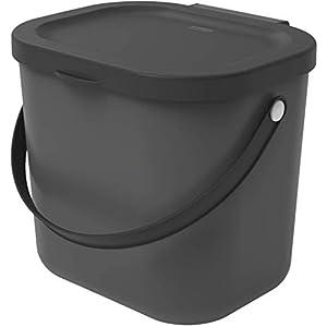 Rotho Albula Biomülleimer 6l mit Deckel für die Küche, Kunststoff (PP) BPA-frei, anthrazit, 6l (23,5 x 20,0 x 20,8 cm) 3