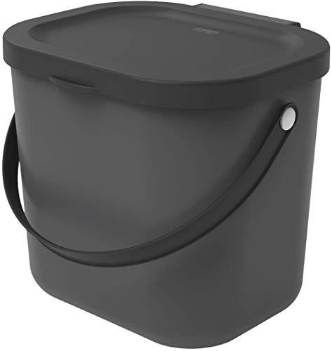 Rotho Albula Biomülleimer 6l mit Deckel für die Küche, Kunststoff (PP) BPA-frei, anthrazit, (23,5 x 20 x 20,8 cm)