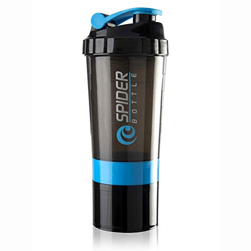 Rocketkart Gym Spider Shaker Bottle 500ml with Extra Compartment; 100% Leakproof; Ideal for Protein; Preworkout; BCAAs; Cycling; Gym; Sports; Office Water Bottle; BPA Free | Supplement Shaker