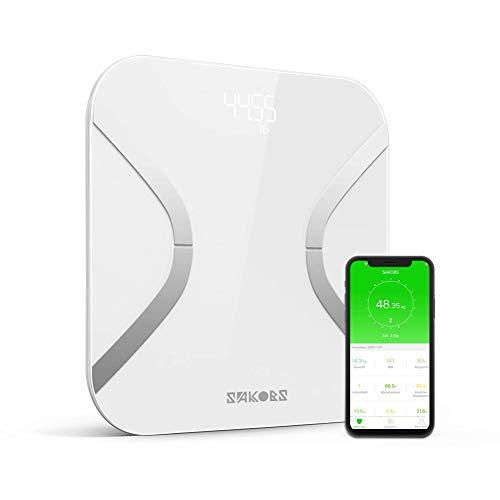SAKOBS Waage mit Körperfett smarte Körperfettwaage mit Bluetooth digitale Personenwaage mit app für 12 Analysewerte (neue Version)