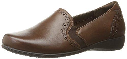 Aravon Womens Adalyn-AR Slip On Flat Shoes, Brown, US 8