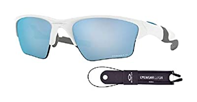Oakley Half Jacket 2.0 XL OO9154 915458 62M Polished White/Prizm Deep H20 Polarized Sunglasses For Men+BUNDLE with Oakley Accessory Leash Kit
