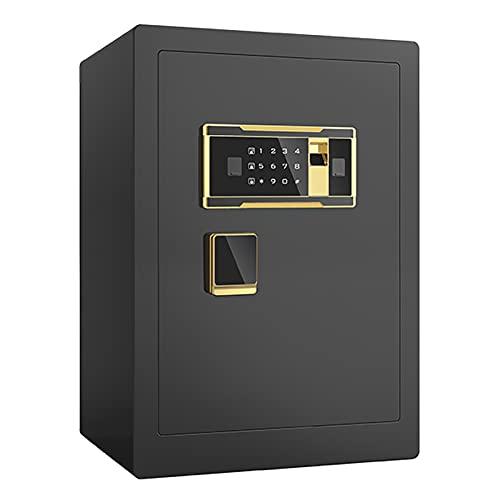 DAPAO Caja de Seguridad Electrónica, Caja Fuerte Pequeña, Caja Fuerte para el Hogar, Desbloqueo de Huellas Dactilares + Desbloqueo de Contraseña + Puerta Interior, Negro (39x34x58)