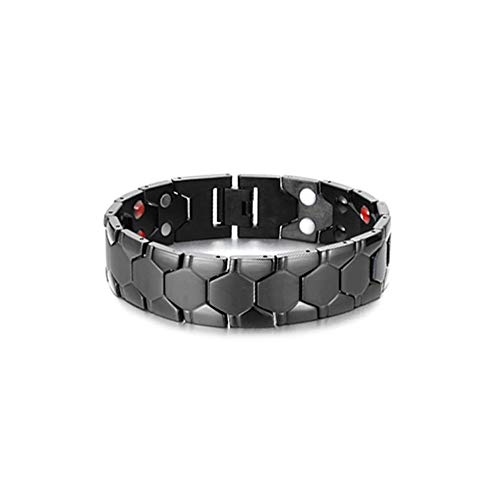 Men's Magnetic Stainless Steel Bracelet Black 4 Elements Bracelet with Magnets, Far Infrared, Germanium and Negative Ions. Great Gift Idea.