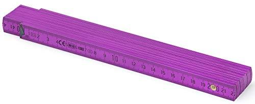 Metrie™ BL52 Holz Zollstock/Zollstöcke |2m langer Gliedermaßstab, Maßstab|Meterstab mit Duplex-Teilung - Violett (PAN512)