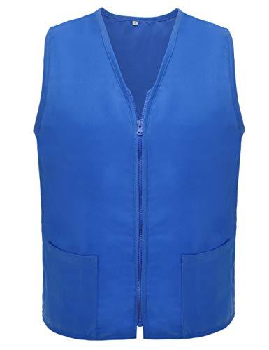 TOPTIE Adult Volunteer Vest Activity Event Supermarket Apron Vests-Blue-3XL