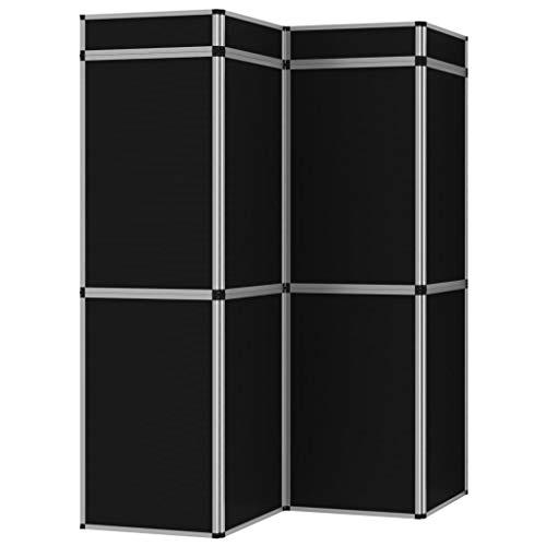 Goliraya 8-Paneel-Promotionswand Klappbar Messestand Messewand Faltdisplay Faltwand mit 8 Paneelen und 4 zusätzlichen Topschildern Schwarz