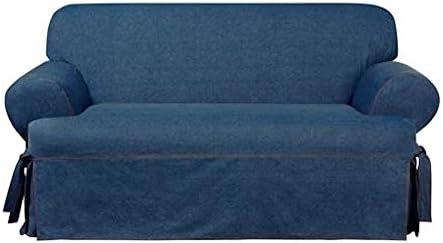 Best SURE FIT Authentic Denim One Piece T-Cushion Loveseat Slipcover - Indigo (SF44455)