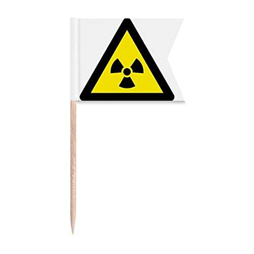 Warnsymbol gelb schwarz Ionisierung Strahlung Dreiecks Zahnstocher Flaggen Kennzeichnung für Party Kuchen Lebensmittel Käseplatte