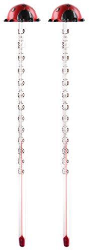 Lantelme 2 stuks babyflessenthermometer lieveheersbeestje analoog glas baby peuter thermometer babyfles 7890