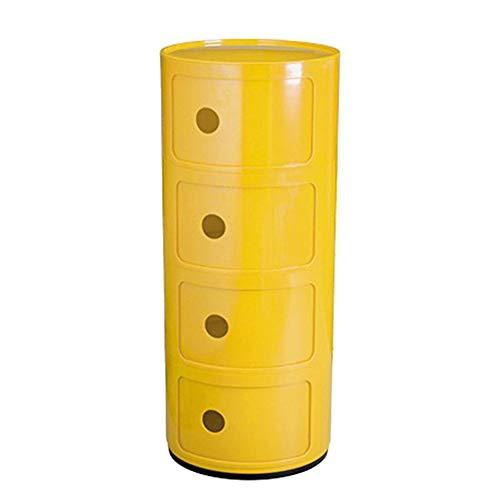 Mobile portaoggetti Rotondo con cassetto Comodino in plastica da Comodino Home Bagno Arredo Camera da Letto FENGMING (Colore : Giallo, Dimensioni : 3 Layers)