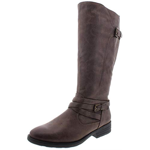 BareTraps Women's Shoes Alysha Leather Closed Toe Knee High, Mushroom, Size 8.0