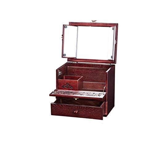 HSF A Prueba de Polvo cosméticos del hogar Caja de Madera de Gran Capacidad Retro del Escritorio de la Piel Cuidado de la Caja de Tocador Rack con el Espejo Organizadores de cosméticos (Color : B m)