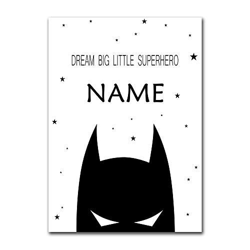 Nom personnalisé Affiche pour Batman garçon garçon Photo Chambre Murale Enfants Chambre Affiche Impression Murale Art Toile Peinture Image décorative sans Cadre Peinture décorative Z20 40x60 cm