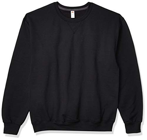 Fruit of the Loom Men's Fleece Crew Sweatshirt, Black, Large