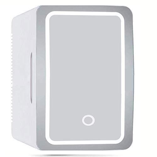 GAOXQ Mini Nevera 8L, Nevera Cosmética con Luz LED 2 En 1, Espejo Maquillaje Portátil Compacto, Congelador,Coche Pequeño, Barra Coche Oficina, Dormitorio