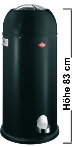 Wesco Mülleimer Kickmaster Maxi, Abfallsammler, Tretabfallsammler, Stahlblech, Schwarz, 40 L, 180731-62
