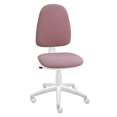 Silla giratoria Blanca de Oficina y Escritorio, Modelo Torino, diseno 100% Blanco ergonomico con Contacto Permanente (Rosa Palo)
