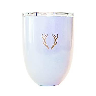 Out of the Dust Stainless Steel Stemless Wine Glass Tumbler Vacuum Insulated Metal Cocktail Tumbler With Antlers Shatterproof Outdoor With Lid Hot and Cold 12 Ounce Camping Wine Cup (Pearl Shimmer)