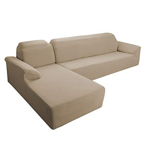 E EBETA Funda Elástica para Sofá Chaise Longue, Chaise Longue Jacquard Funda de sofá para Juego de 2 en Forma de L para 2 plazas + sofá de Esquina de 2 plazas Izquierda (Arena, 2 plazas)