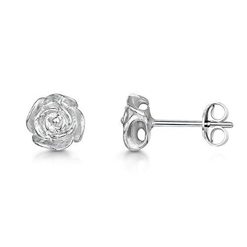 Amberta 925 Sterling Silber – Classic Eleganter Ohrringe Set – Paar Ohrstecker – Ohrschmuck mit Rose – Größe: Kleine