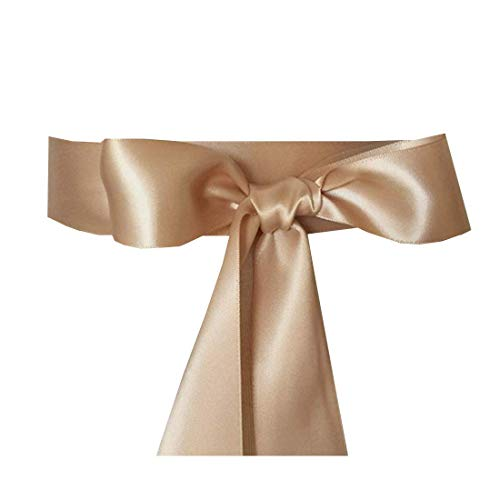 Wedding Sash Bridal Belts Simple Classic Silk Ribbon Sash for Dress (Champagne)
