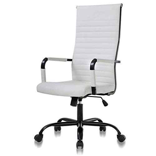 Simple Home Office Chair Ergonomic Desk Chair Leather Computer Chair with Lumbar Support Arms High Back Chair, Chic Modern Desk Executive Task PC Chair, Adjustable Best Home Office Chair - White