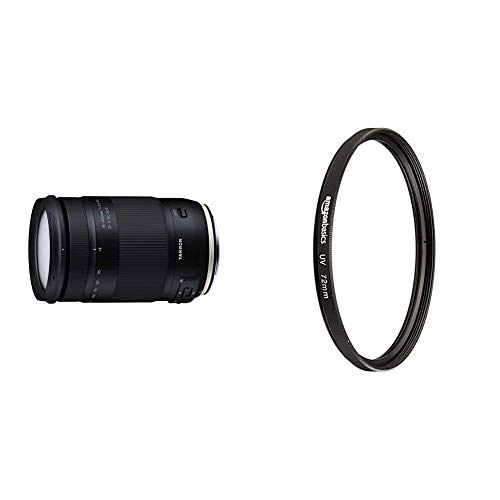 Tamron T80191 - Objetivo para cámara Canon (18-400mm, Apertura F/3.5-6.3 Di II VC HLD B028) + Amazon Basics - Filtro de protección UV - 72mm