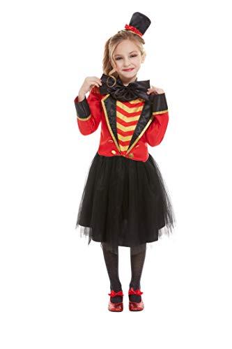 Smiffys 52169M Deluxe Ringmaster Kostüm, Mädchen, Rot, Größe M, 7-9 Jahre