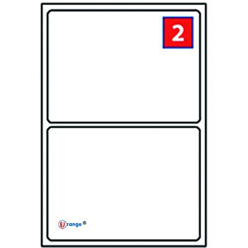 EJRange 2 etiquetas por hoja A4, 100 hojas - 200 etiquetas en total, etiquetas autoadhesivas de dirección compatibles con impresoras de inyección de tinta y láser - Etiquetas adhesivas imprimibles