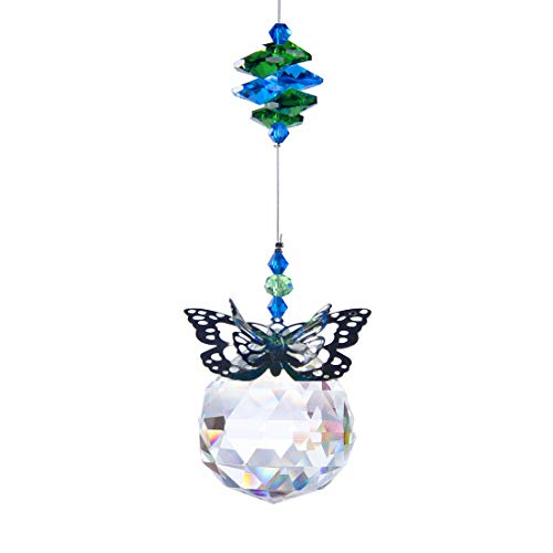 H&D 40 mm Handmade Butterfly Crystal Ball Prism Rainbow Maker Hanging Suncatcher Home Wedding Decoration Favors