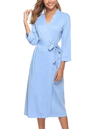 Abollria Bata para Mujer Algodón con Escote en V Albornoz de Kimono de Mujer Ropa de Dormir con Cinturón (M, Azul)