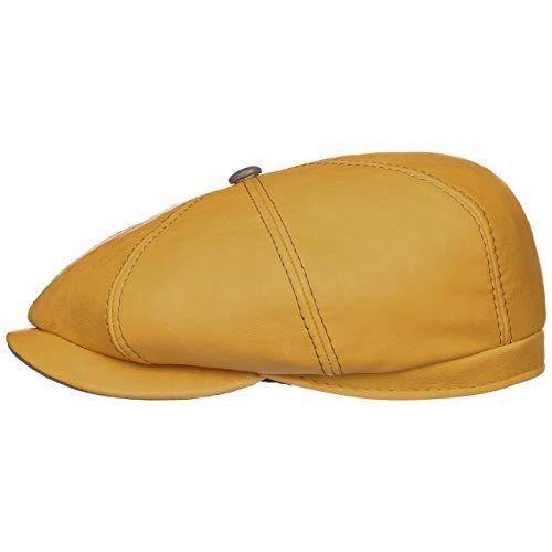 Lierys Dublino Leder Flatcap Damen/Herren - Handmade - Made in Italy - Hochwertige Ledermütze mit Satinfutter - Moderne Schirmmütze aus 100% Kalbsleder Sommer/Winter gelb 56 cm