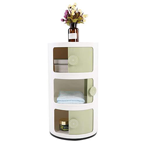 GOTOTOP Container Componibili, 3 Schichten runder Kunststoff Rollcontainer Nachttisch Aufbewahrungsschrank mit Slippng Tür für Badezimmer-Schlafzimmer (Grün)